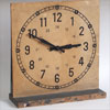 Refurbished wooden educational clock on stand