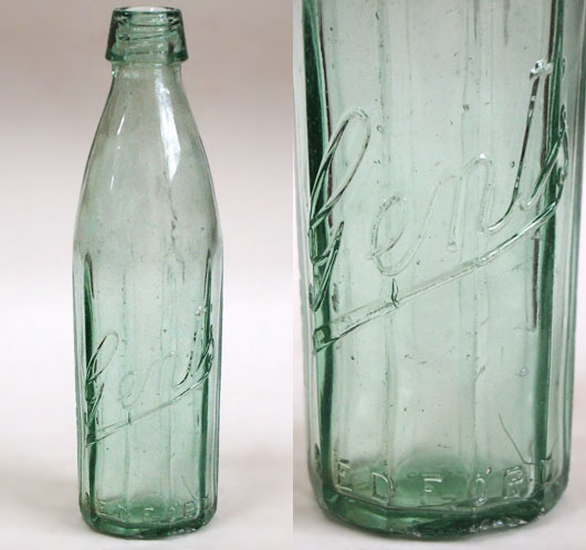Early-1900s vintage faceted glass bottle: Gent's, Bedford
