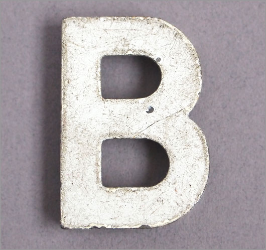 Magnetised vintage iron store sign display letter 'B'