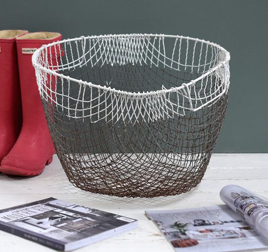Large decorative vintage two-tone wire basket