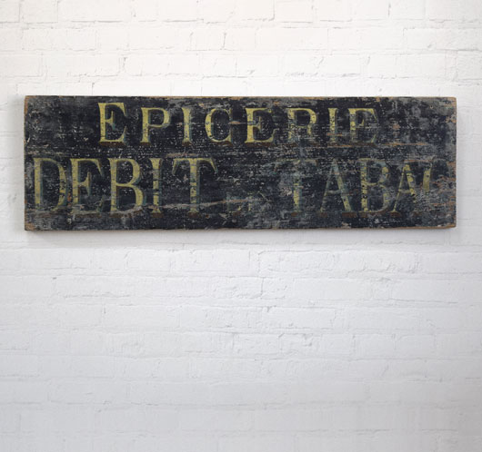 19th-century antique French wooden shop sign: Epicerie (grocery tobacconist)