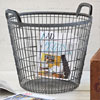 Early-1900s metal wire potato basket, large