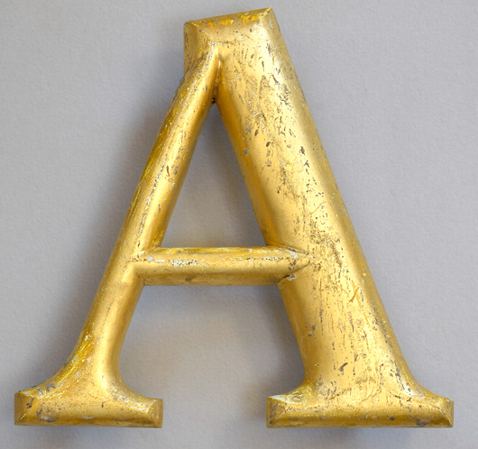 Vintage gold-gilt pub sign letter 'A', mid-1900s