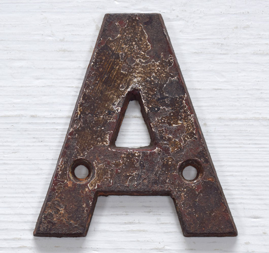 Victorian cast-iron railway sign letter 'A', 10cm