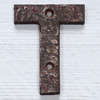 Victorian cast-iron sign letter 'T', 10cm