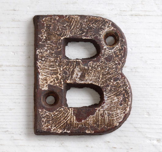 Victorian cast-iron railway sign letter 'B', 7.5cm