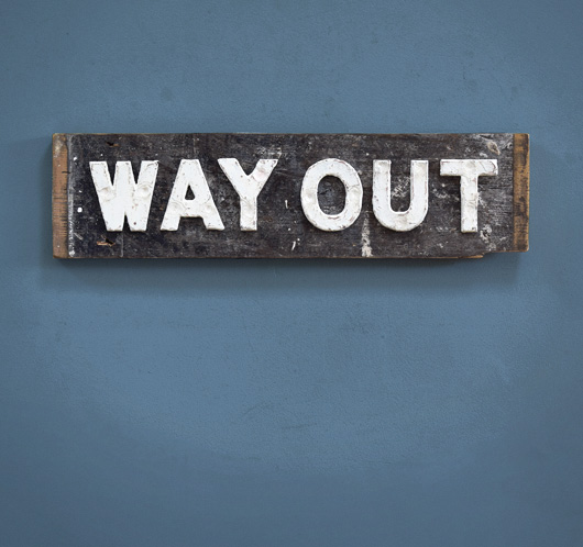 Antique railway station sign: Way Out