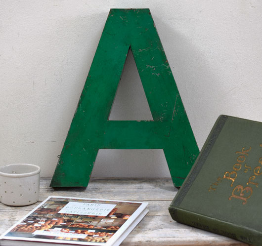 Large green vintage metal shop sign letter 'A'