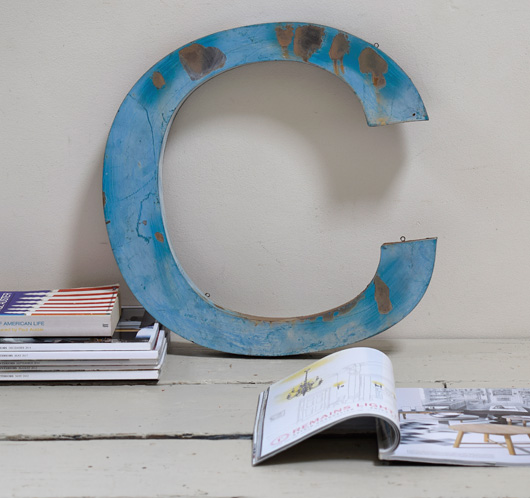 Extra-large lowercase vintage metal sign letter 'c'