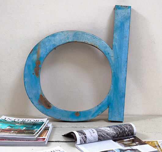 Extra-large lowercase vintage metal sign letter 'd' or 'p'