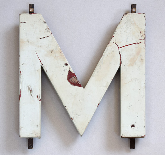 1920s Modernist style painted wooden sign letter 'M' or 'W'