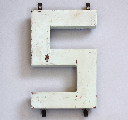 1920s Modernist style painted wooden sign letter 'S'