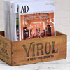 Small early-1900s wooden crate: Virol