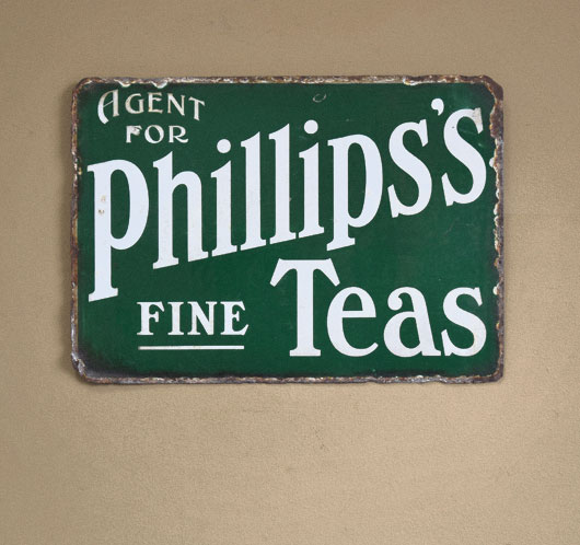 Early-1900s antique enamel sign: Phillips's Fine Teas