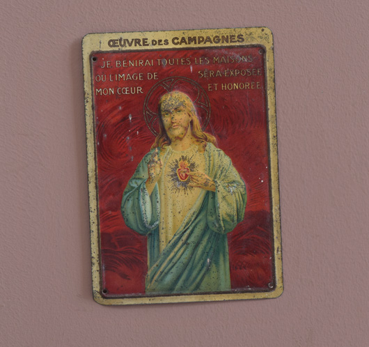 Antique French tin plaque: Jesus Sacred Heart