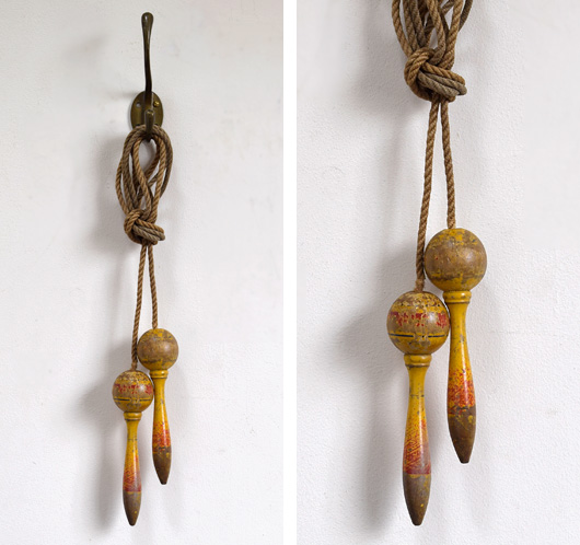 1920s vintage skipping rope with painted handles