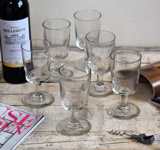 19th-century qntique French stemmed wine glasses