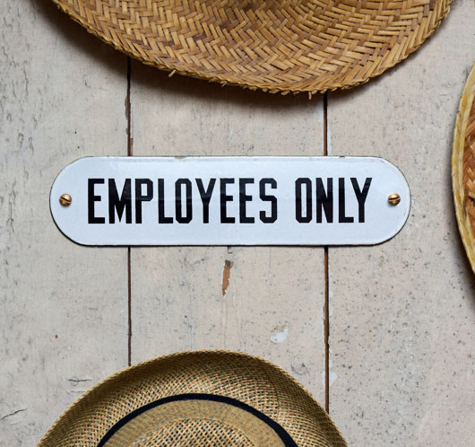 Large 1930s vintage enamel door sign: Employees Only