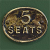 Pressed brass railway carriage sign: 5 Seats