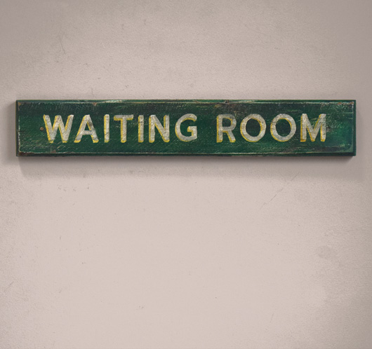 Early-1900s antique wooden railway sign: Waiting Room