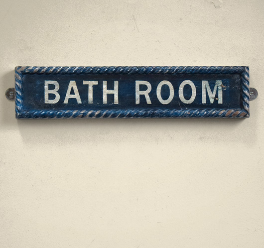 Vintage painted wooden sign: Bath Room