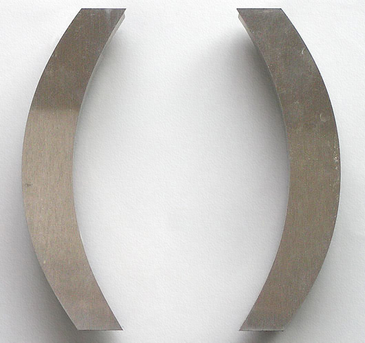 Pair of ex-shop front stainless steel parentheses
