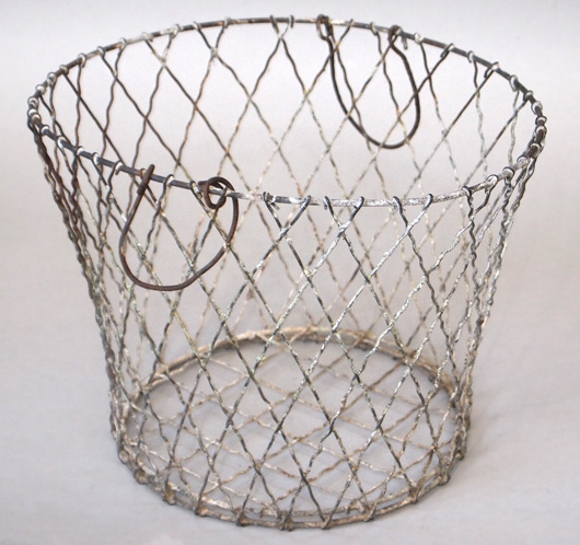 Antique French wirework fruit basket with swing handles, c. 1900