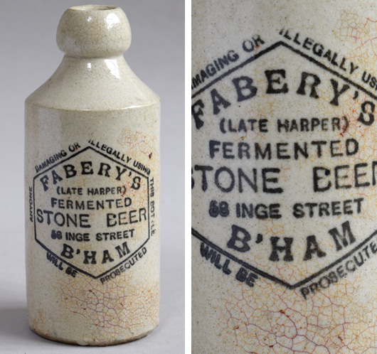 Victorian antique stoneware ginger beer bottle: Fabery, Birmingham