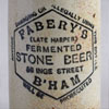 Victorian stoneware ginger beer bottle: Fabery, B'ham
