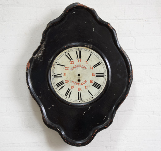 Antique French advertising clock face: Chocolat Révillon