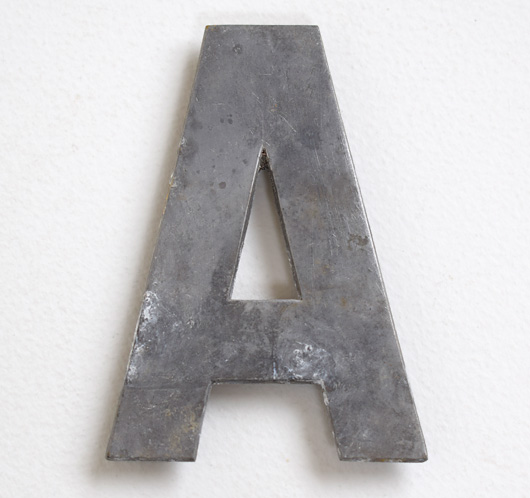 Early vintage cast-metal car number plate letter 'A'