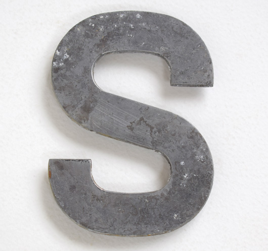 Early cast-metal vintage car number plate letter 'S'