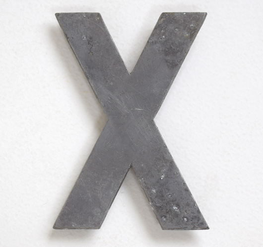 Early cast-metal vintage car number plate letter 'X'