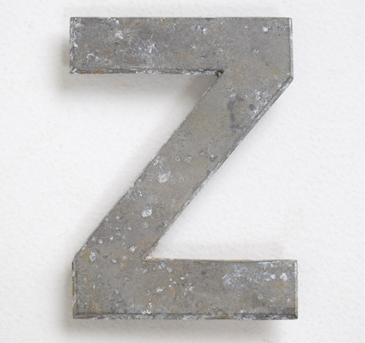 Early vintage cast-metal car number plate letter 'Z'