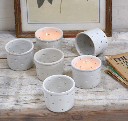 Vintage French cheese mould tealight holder