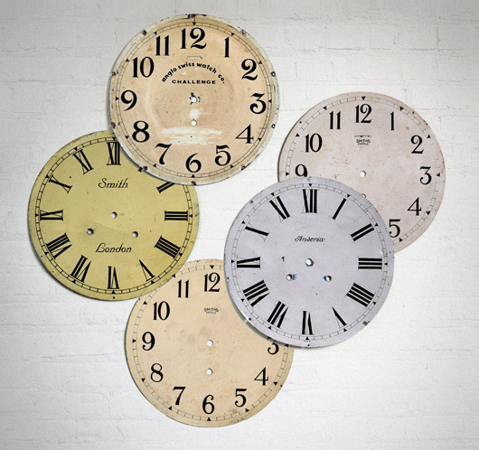 Group of 5 antique metal clock dials
