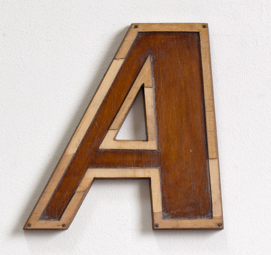 Mid-1900s wooden letter mould: 'A', 19.5cm
