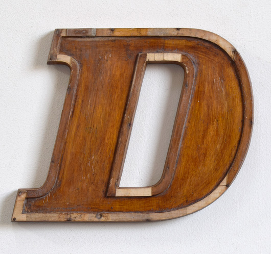 Mid-1900s wooden letter mould: 'D', 19.5cm