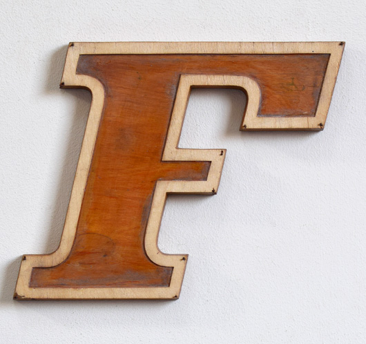 Mid-1900s wooden letter mould: 'F', 19.5cm