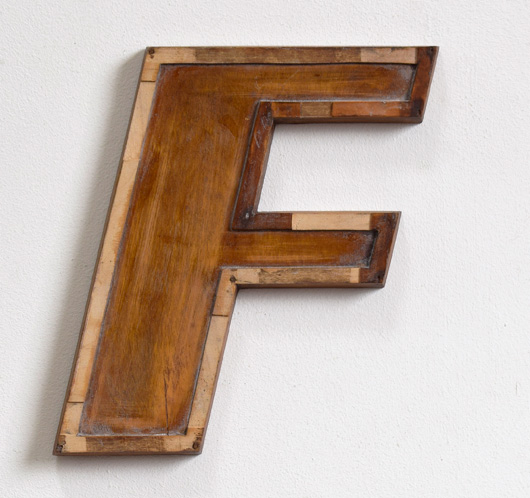 Mid-1900s wooden letter mould: 'F', 23cm