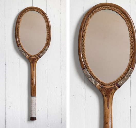 Early-1900s antique wooden tennis racquet mirror