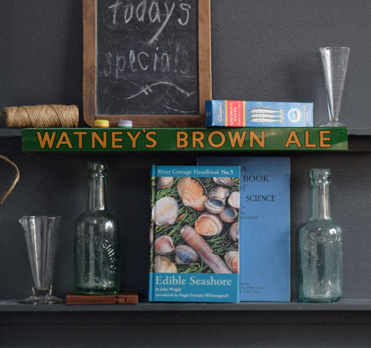 Early-1900s vintage tin shelf sign: Watney's Brown Ale