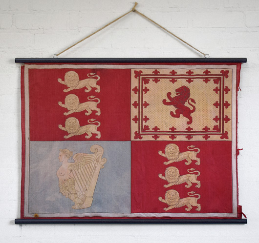 Antique Royal Standard flag wall hanging