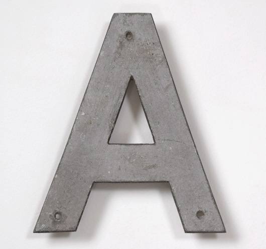 Vintage stripped metal railway sign letter 'A', 18.5cm