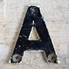 Mid-1900s monochrome metal sign letter 'A'