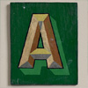 Painted wooden sign letter plaque: A