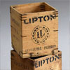 Small antique wooden tea chests, Lipton