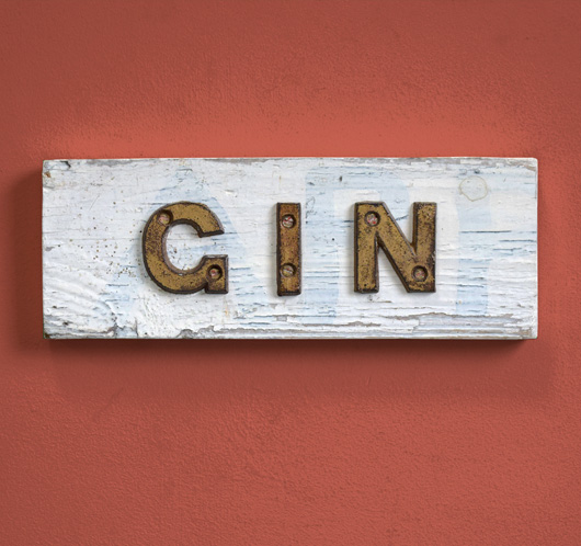 Vintage iron and wood bar sign: Gin