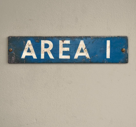 Vintage painted metal warehouse sign: Area 1