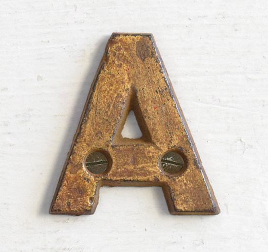 Antique Victorian painted gold iron sign letter: A